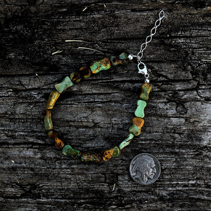 Turquoise 'Bone' Beaded Anklet