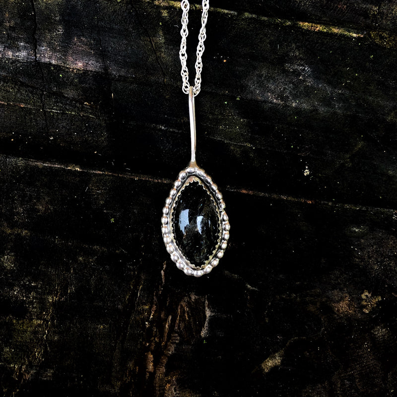 Tourmalated Quartz Teardrop Necklace
