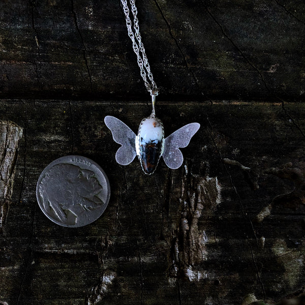 White Buffalo Butterfly Necklace