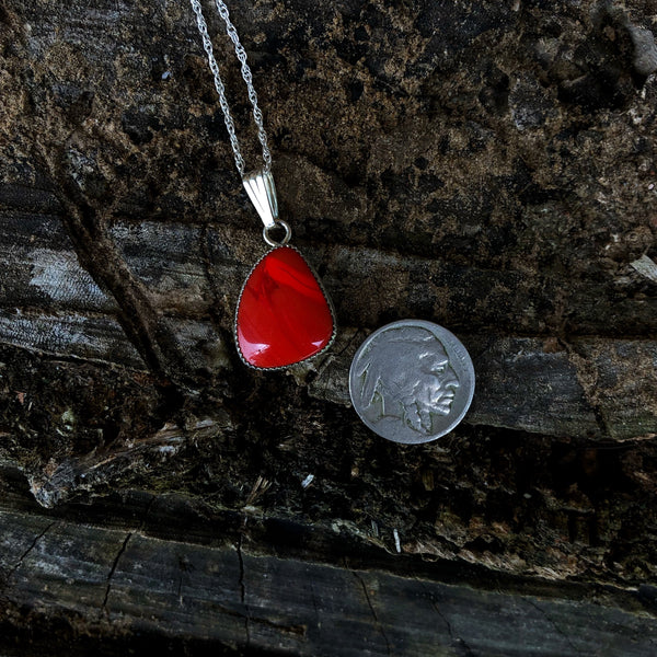 Red Rosarita Teardrop Necklace