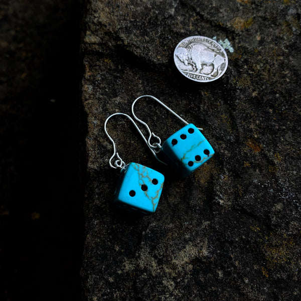 American Turquoise Dice Earrings