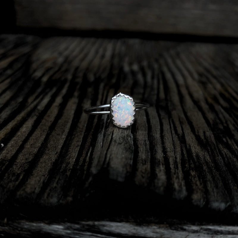 'Durango' White Opal Stacking Ring // Made to Order