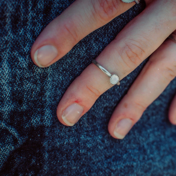 Faceted Moonstone Stacking Ring