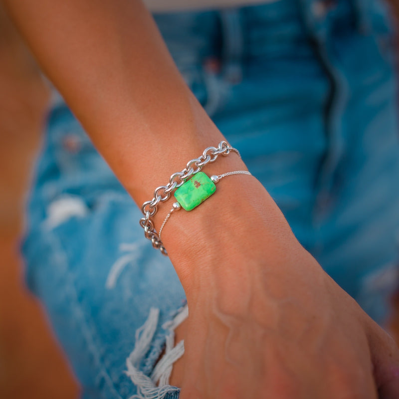 Cora // Green Mojave Turquoise Bolo Bracelet