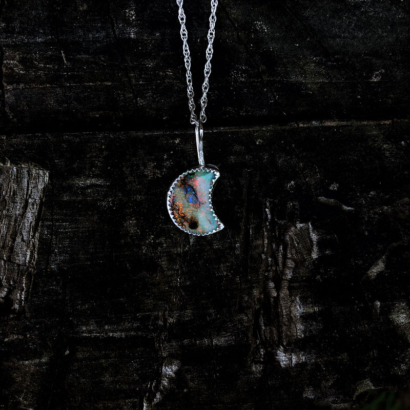 Cosmic Opal Moon Necklace
