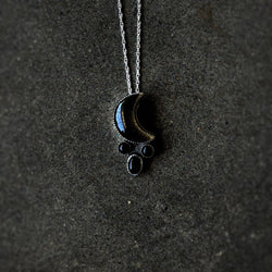 'Bad Moon Rising' Gold Sheen Obsidian + Onyx Necklace