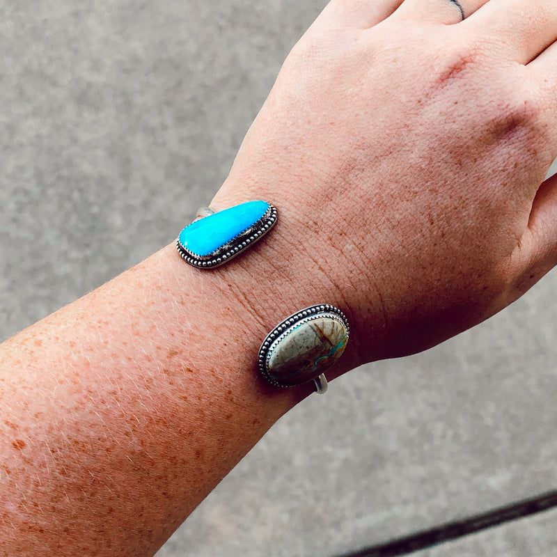 "Royston Turquoise Double Stone Cuff // 6-6.5"" wrist"
