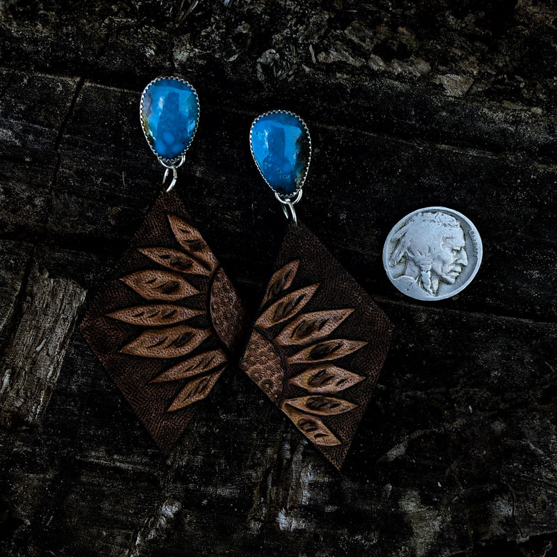 'Magdalena' //  Kingman + Leather Earrings