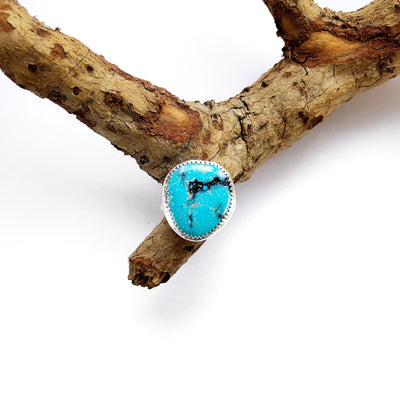 Kingman Turquoise + Sterling Ring // Size 5