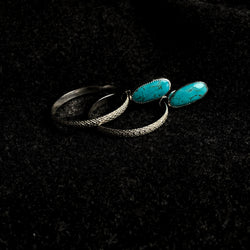 Kingman Turquoise Snakeskin Hoop Earrings