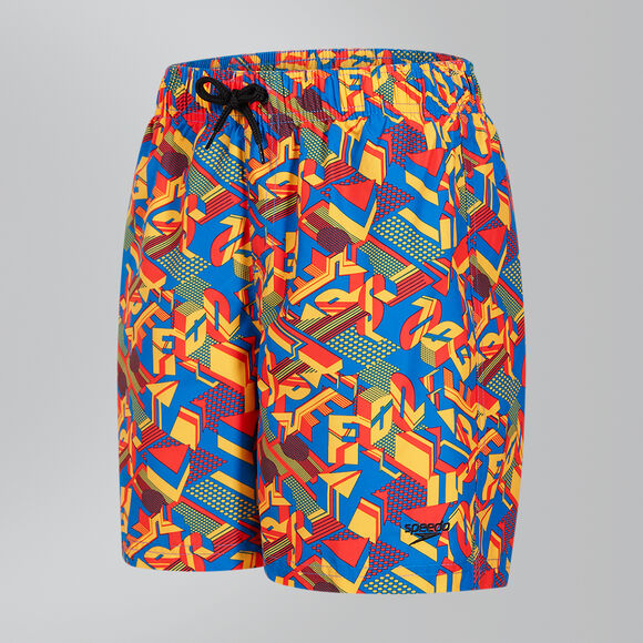 "Speedo Boys Clash Block Printed Leisure 15"" Swim Shorts Junior"