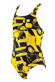 Arena G Mechanic JR Swim Pro Back One Piece Yellow-Star,Multi