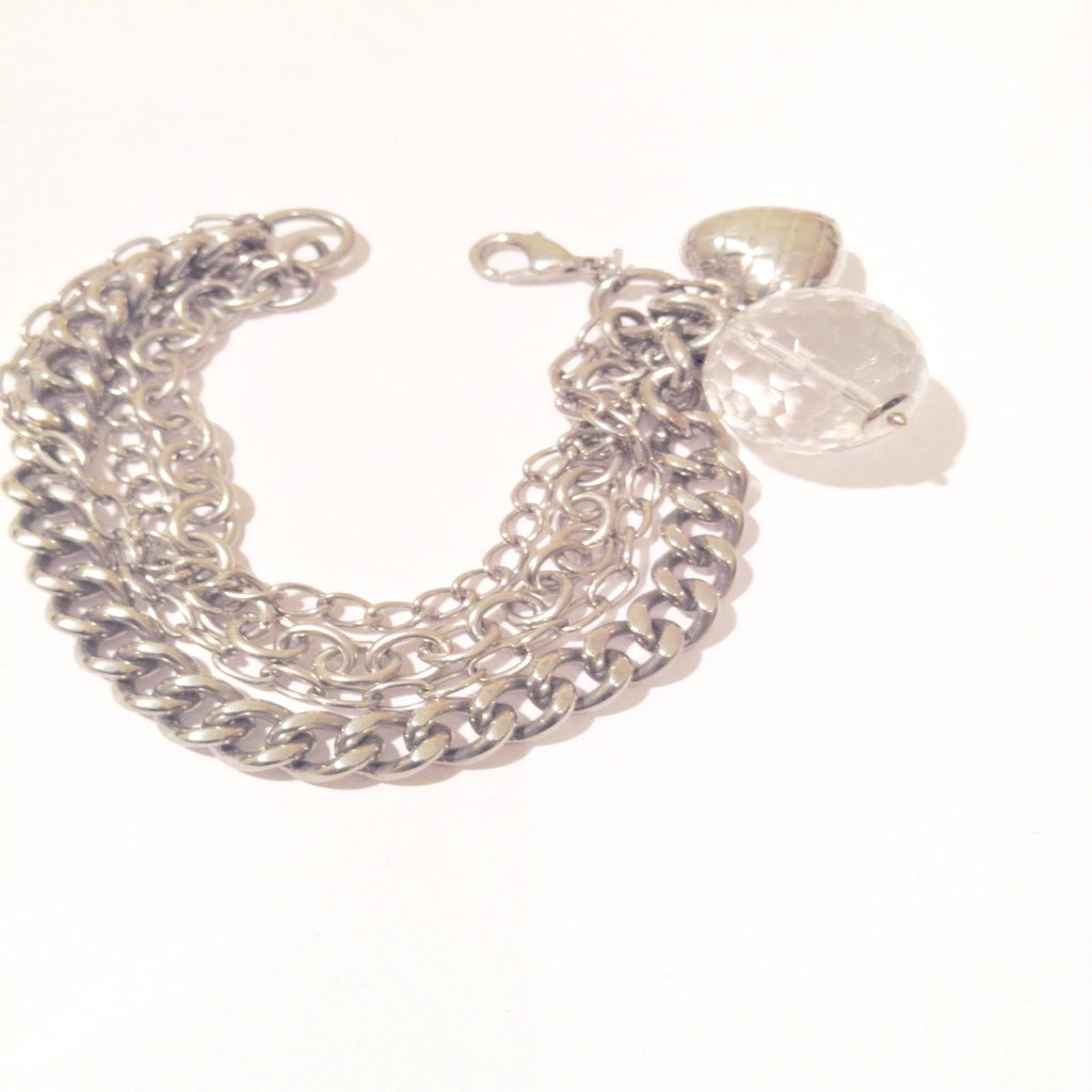 Silver Tone Double Chained Bracelet