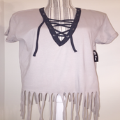 Open Cut Fringe T Shirt