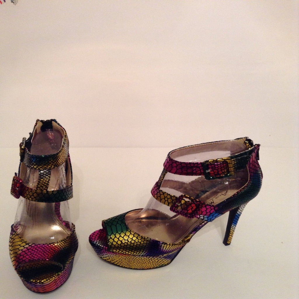 rainbow ice snakeskin open toe heels