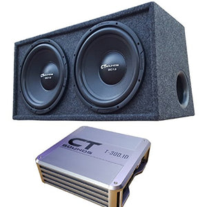 CT Sounds 1.0 Dual 12 Inch Subwoofer Bass Package in Ported Box with Amplifier