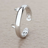 Cute Silver Cat Resizable Ring