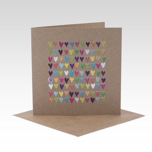 Multicoloured foil hearts card