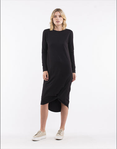Silent Theory Long Sleeve Twisted Maxi Dress Black