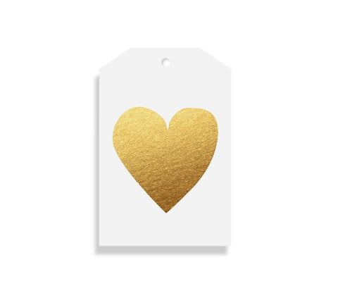 Elm Paper Gift Tag - Heart Gold