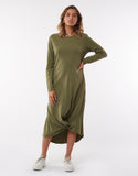 Silent Theory Long Sleeve Twisted Maxi Dress -Militant Green