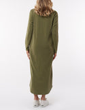 Silent Theory Long Sleeve Twisted Maxi Dress - Militant Green