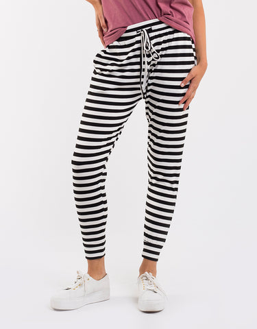 Silent Theory Falling Bricks Pants - Black/White Stripe