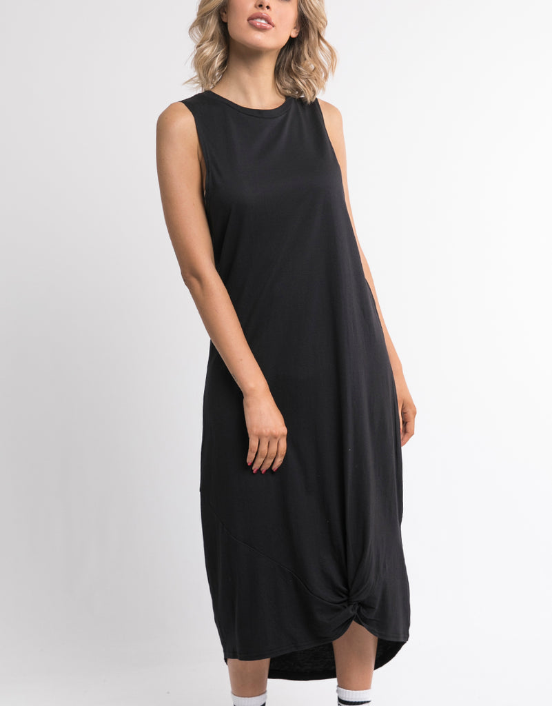 Silent Theory Twisted Maxi Tank Dress - Washed Black