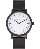 The Horse Watch - Matte Black/White Dial/Black Leather