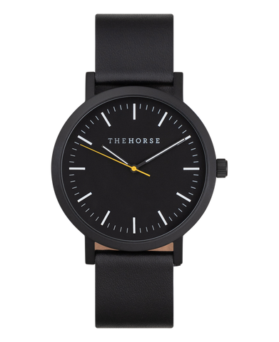 The Horse Watch - Matte Black / Black Dial w Tumeric / Black Leather Strap