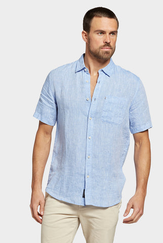 The Academy Brand Hampton Linen S/S Shirt - Chambray