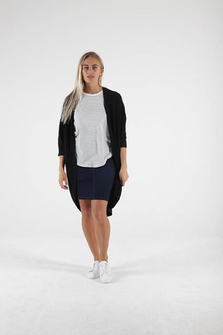 Betty Basics Santorini Drape Cardigan - Black