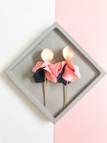Willow Collective Wildflower Dangles - Blush/Navy