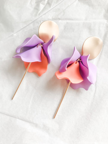 Willow Collective Wildflower Dangles - Pastel Purple/Peach
