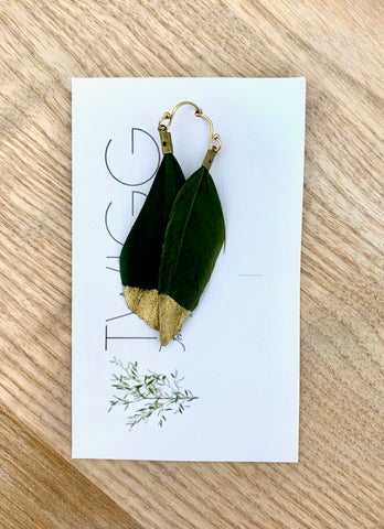 Twigg Gold Painted Feather Earrings - Olive