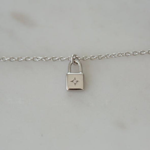 Sophie Little Lock Necklace - Silver