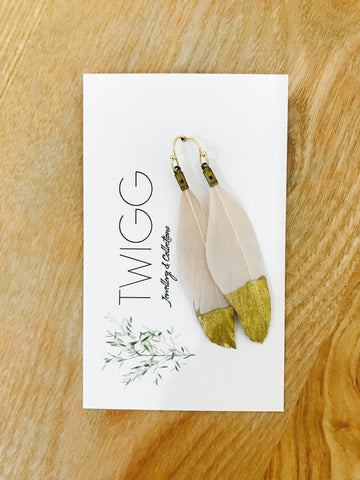 Twigg Gold Painted Feather Earrings - Mocha