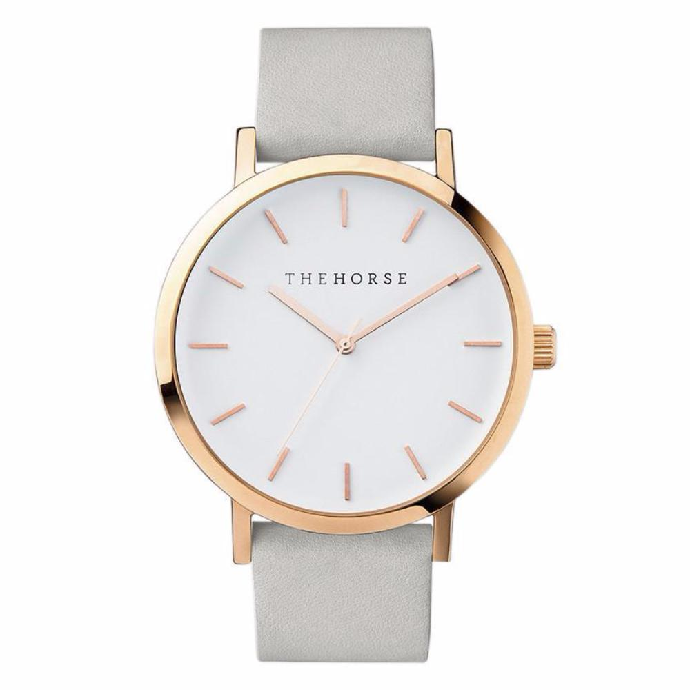 The Horse Watch - Polished Rose Gold/Grey Leather