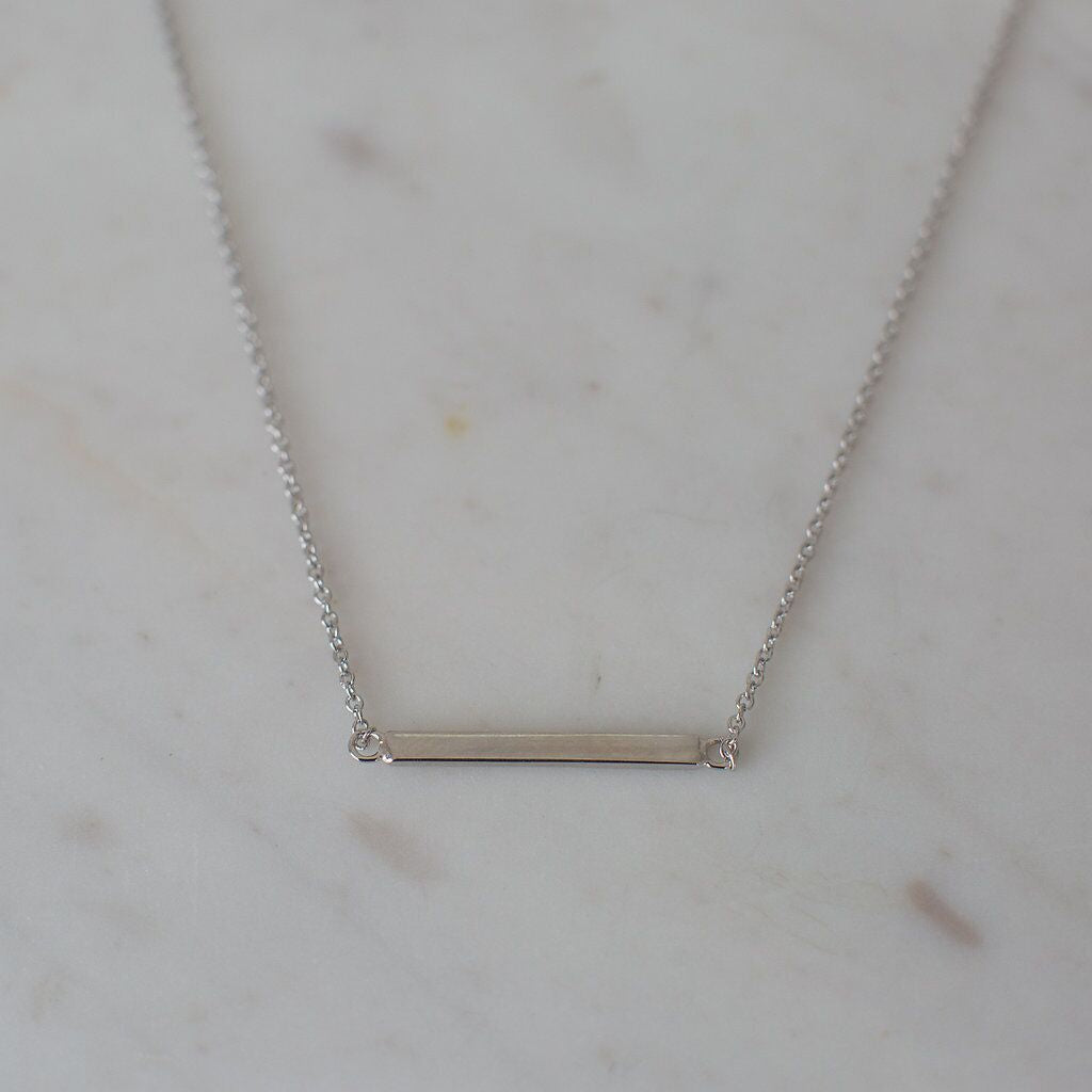 Sophie Mini Bar Necklace - Silver