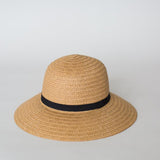 Sophie So Shady Ribbon Hat - Natural with Black