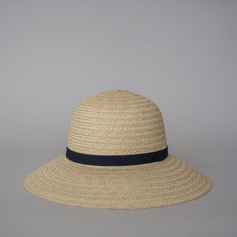 Sophie So Shady Ribbon Hat - Ivory with Navy
