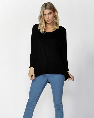Betty Basics Milan 3/4 Sleeve Top - Black