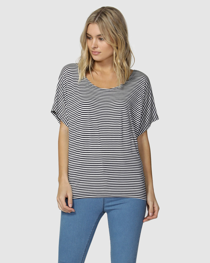 Betty Basics Maui Tee - Navy/White Stripe