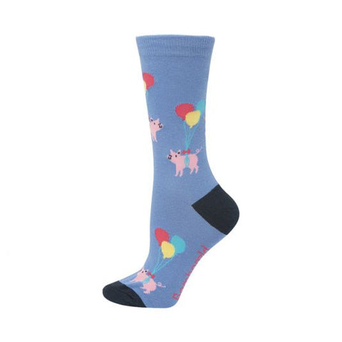 Bamboozld Womens Sock - Pigs Will Fly (lavender)
