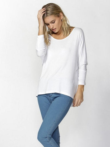 Betty Basics Milan 3/4 Sleeve Top in White