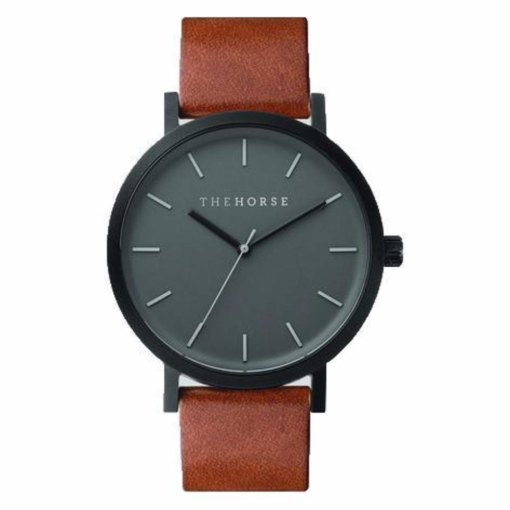 The Horse Watch - Matte Black/Black Face/Tan Leather
