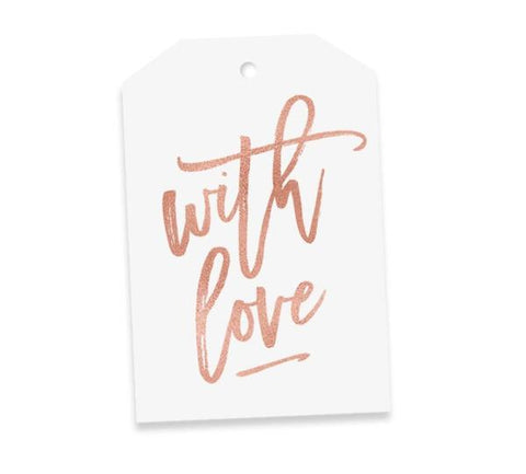 Elm Paper Gift Tag - With Love Rose Gold