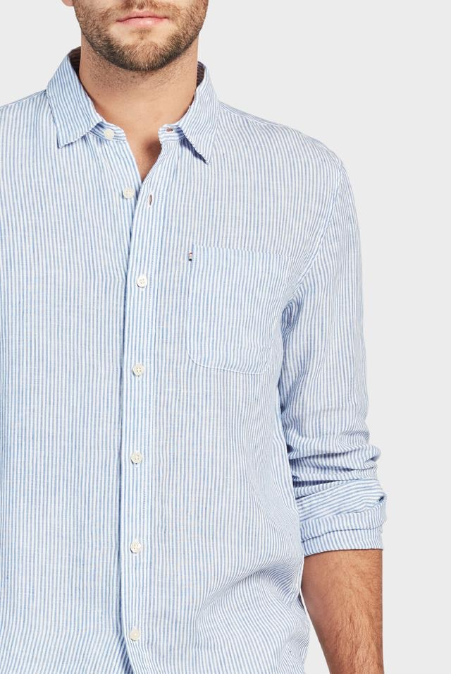 The Academy Brand Hampton Linen Shirt - Sky Stripe