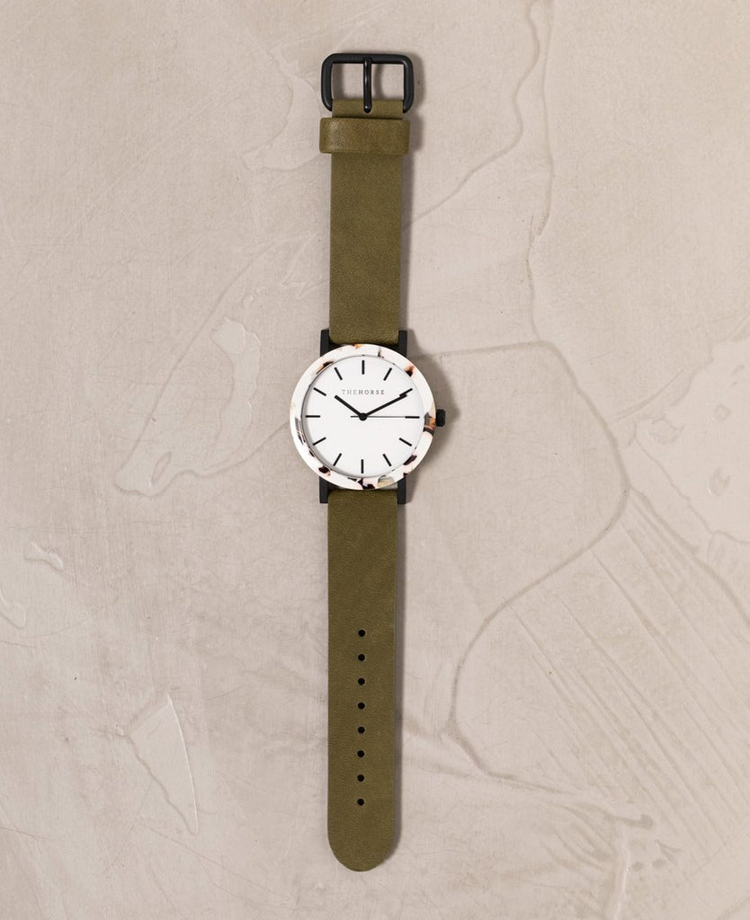 The Horse Watch - Olive Nougat (Nougat Shell/White Dial/Olive Band)