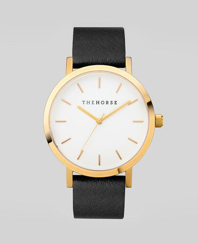 The Horse Watch - Polished Gold/White Face/Black Leather